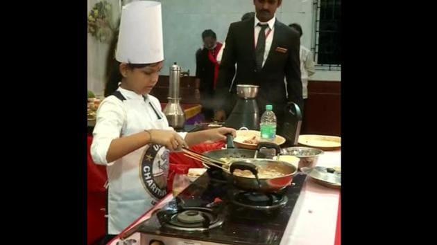The image shows SN Lakshmi Sai Sri cooking.(ANI)