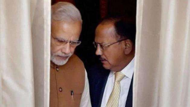 National Security Adviser Ajit Doval with Prime Minister Narendra Modi.(PTI)