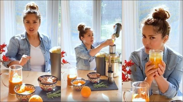Salma Hayek's orange juice recipe with 'secret ingredient' for youthful look(Instagram/salmahayek)