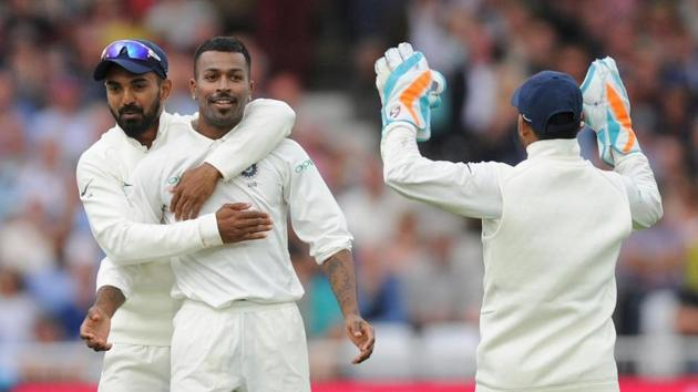 Hardik Pandya being congratulated by his India teammates(Twitter)