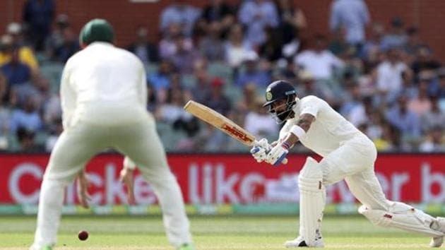 India's Virat Kohli bats during the first cricket test between Australia and India in Adelaide, Australia,Saturday, Dec. 8, 2018. (AP Photo/James Elsby)(AP)