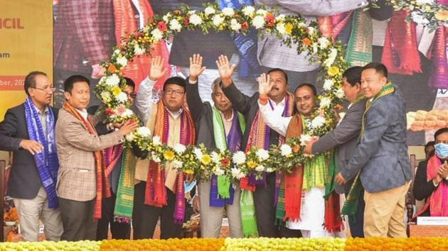 UPPL president Promod Boro and Gobinda Basumatary are felicitated after being sworn in as the new chief executive member and deputy CEM of the Bodoland Territorial Council at an oath-taking ceremony at Greenfield, in Kokrajhar on December 15.(PTI)