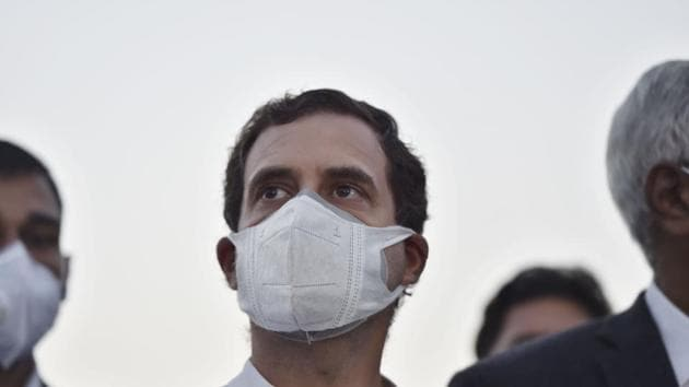 Congress leader Rahul Gandhi condoled the death of the 65-year-old Sikh priest who shot himself at Kundli border on Wednesday at the protest site.(Ajay Aggarwal /HT PHOTO)