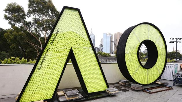 MELBOURNE, AUSTRALIA - JANUARY 05: The giant Australian Open logo is seen full of tennis balls ahead of the 2019 Australian Open at Melbourne Park on January 05, 2019 in Melbourne, Australia(Getty Images)