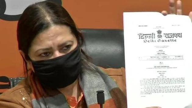 Meenakshi Lekhi said the three farm laws had been published in the Delhi Gazette on November 23.(ANI)