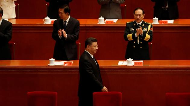 China's President Xi Jinping arrives for an event marking the 70th anniversary of the Chinese People's Volunteer Army's participation in the Korean War at the Great Hall of the People in Beijing(REUTERS)