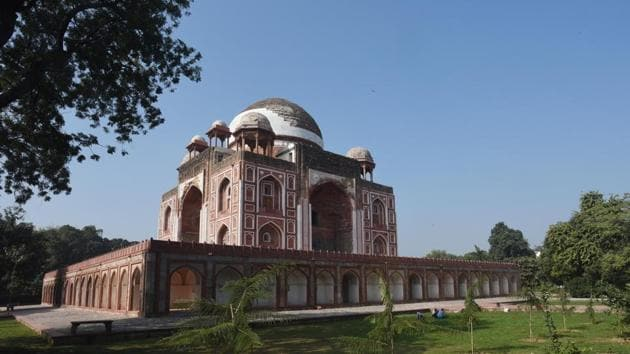 A view of the Tomb of Abdur Rahim Khan-i-Khanan also known as Rahim's Tomb, after the completion of its restoration work, near Nizamuddin, in New Delhi.(Vipin Kumar/HT PHOTO)