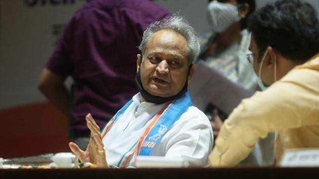 CM Ashok Gehlot during the State Level Farmers' Meet to protest new farm laws, at Birla Auditorium, in Jaipur, Rajasthan.(Himanshu Vyas/ Hindustan Times)