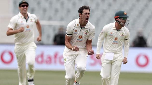 Australia's Mitchell Starc, center, celebrate with teammates after bowling India's Prithvi Shaw during their cricket test match at the Adelaide Oval in Adelaide, Australia, Thursday, Dec. 17, 2020.(AP)