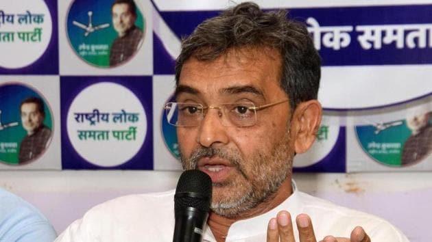 Patna-June.30,2019-Rashtriya Lok Samata Party president Upendra Kushwaha is addressing a press conference at party office in Patna. Bihar India on Sunday June 30,2019.(Photo santosh kumar/Hindustan Times)