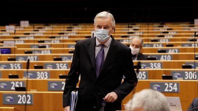 EU chief Brexit negotiator Michel Barnier attends a debate on future relations between Britain and the EU.(REUTERS)
