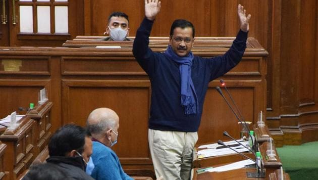Chief minister of Delhi Arvind Kejriwal addressing a special session of the Delhi Vidhan Sabha on the new farm laws, in New Delhi on Thursday.(Hindustan Times/HT PHOTO)