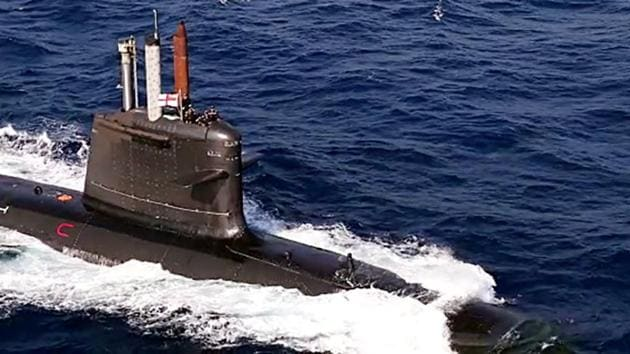 A submarine of the Indian Navy participating in the Second Phase of Malabar 2020 Naval exercise in the Arabian Sea of the Indian Ocean Region.(ANI)