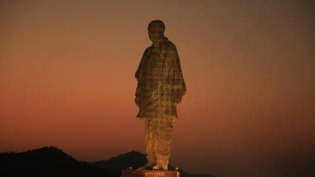 Gujarat, India- October 30, 2018: A view of the memorial to the 'Iron Man of India' Sardar Vallabhai Patel which was commissioned in 2018, five years after work began(HT File Photo)