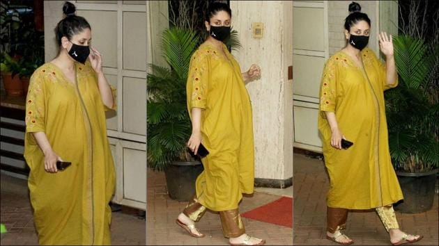 Kareena adds Midas touch to maternity diary in Rs 21k gold kaftan,silk pants(Instagram/kareenakapoorteam)
