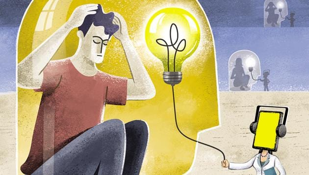 In a country with 0.29 psychiatrists per 100,000 people — against a recommended 3 per 100,000 — according to 2017 World Health Organization data, online access to counselling can be a vital tool.(HT Illustration: Gajanan Nirphale)