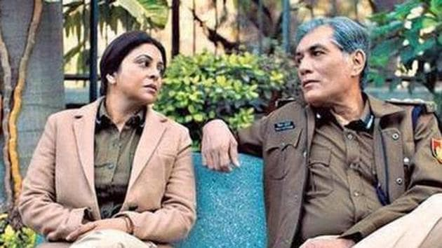 Actors Shefali Shah and Denzil Smith in a still from the show Delhi Crime.