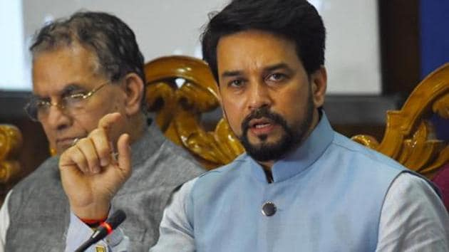 Minister of state for finance and corporate affairs Anurag Thakur talking about the recovery post unlock, said, it has been broad-based and has not come only from the agriculture sector.(Deepak Sansta / Hindustan Times)