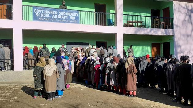 Voters stand in a queue to cast their votes for the DDC elections.(ANI/File/Representational)