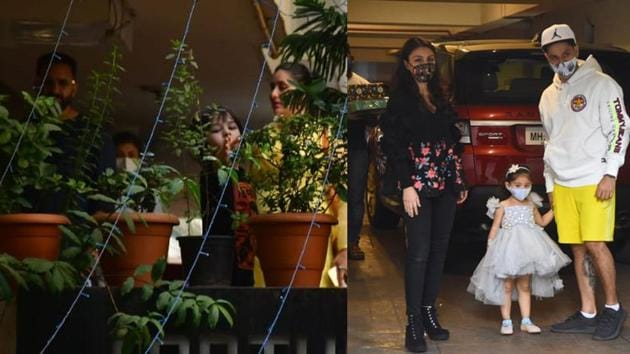 Saif Ali Khan, Kareena Kapoor, Soha Ali Khan, Inaaya and Kunal Kemmu at Taimur's birthday bash.(Varinder Chawla)