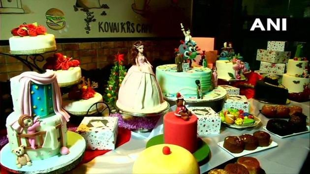 Apart from Corona cakes, the other varieties that are on display include Barbie, Flamingo, Santa Clause among others.(Twitter/@ANI)