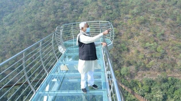 The total length of this glass bridge is 85 feet long and six feet wide and at a height of second is 250-feet.(Twitter/@ANI)