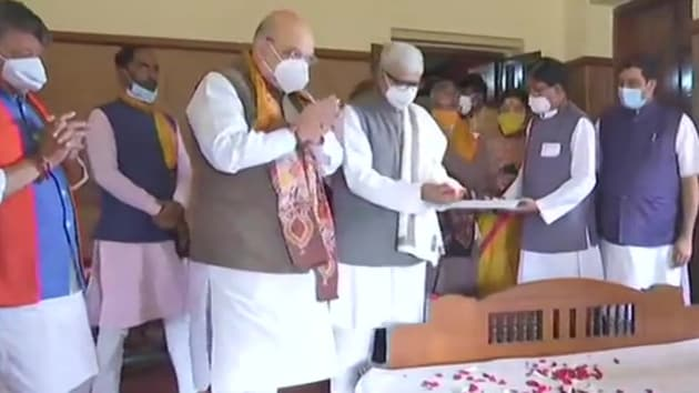 The home minister arrived in the state on Saturday to campaign for the upcoming assembly election that is scheduled to take place next year.(ANI)