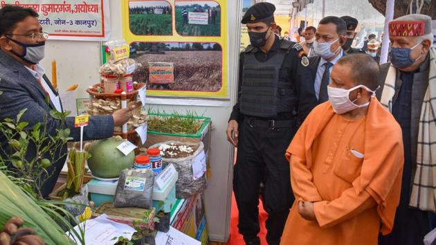 Uttar Pradesh Chief Minister Yogi Adityanath during inauguration of 'Krishi Mela' in Ayodhya.(PTI)