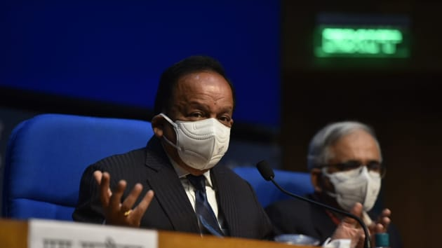 Union health mnister Dr. Harsh Vardhan addresses a press conference at National Media Centre, in New Delhi.(Photo by Sanjeev Verma)