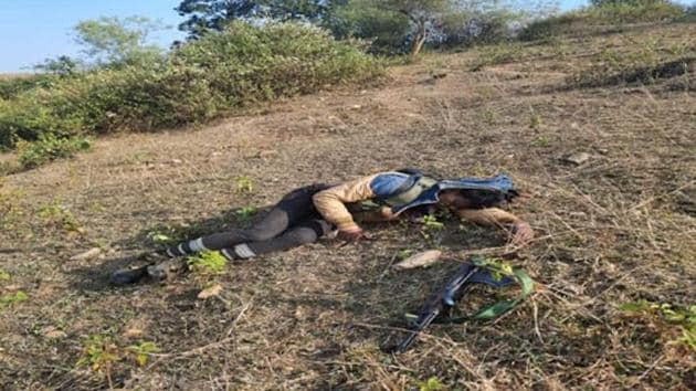 PLFI top commander Jidan Guriya was killed in an encounter at Koengsar village under Murhu PS in Khunti district with district police and CRPF Batallin-94 around 9.30 am this morning. An AK-47 automatic assault rifle has been recovered from near his body.(SOURCED.)