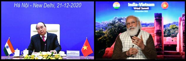 "Participating in a virtual summit with his Vietnamese counterpart Nguyen Xuan Phuc, Prime Minister Narendra Modi described Vietnam as ""an important pillar of India's Act East policy and an important ally of our Indo-Pacific vision"".(TWITTER/ @MEAIndia.)"