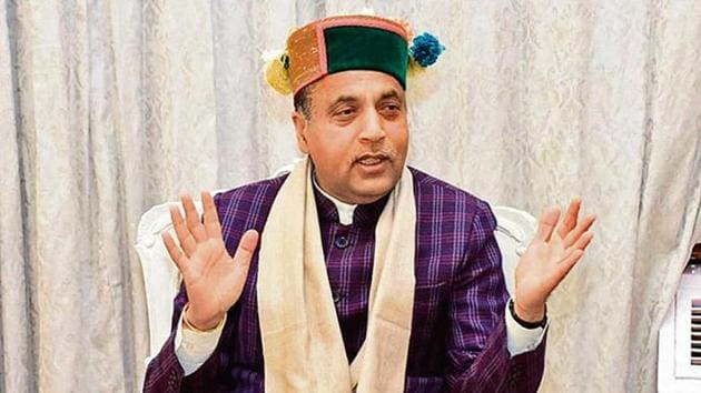 Chief minister Jai Ram Thakur, who completes his three years in office on December 27, talking to Hindustan Times in Shimla on Sunday.(HT photo)