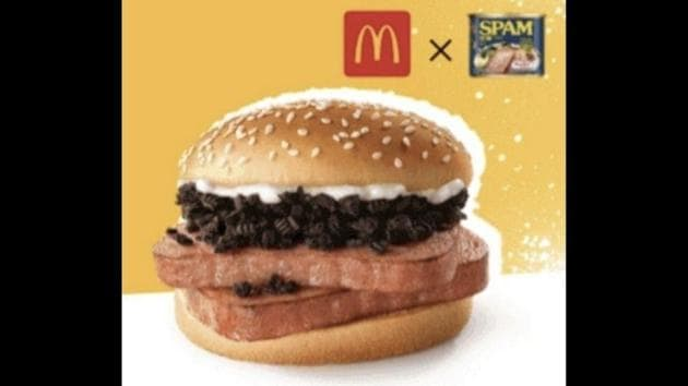 The image shows McDonald's 'Spam burger' topped with Oreos.(Twitter/@ZhugeEX)