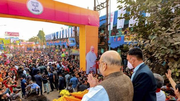 Union home minister Amit Shah during an election campaign rally ahead of West Bengal assembly polls 2021, at Bolpur in Birbhum.(PTI Photo)