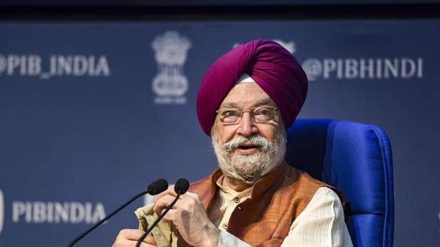 New Delhi: Union Minister for Civil Aviation Hardeep Singh Puri addresses a press conference at National Media Centre, in New Delhi, Thursday, Oct. 8, 2020. (PTI Photo/Vijay Verma)(PTI08-10-2020_000079B)