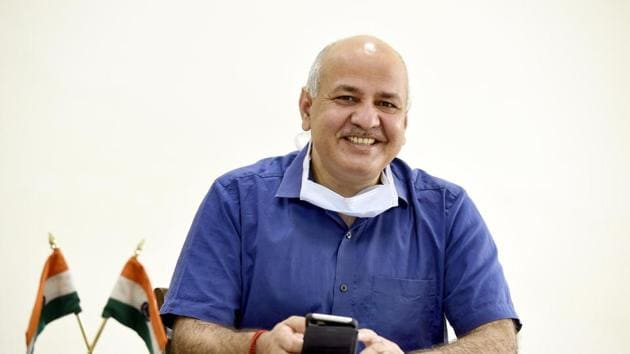 Delhi deputy chief minister Manish Sisodia will be visiting capital city, Lucknow, on Tuesday to officially launch AAP's campaign for the 2022 Uttar Pradesh assembly polls(Arvind Yadav/HT PHOTO)