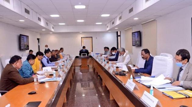 An Assam cabinet meeting being held in Guwahati on Tuesday.(TWITTER/ @CMOfficeAssam)