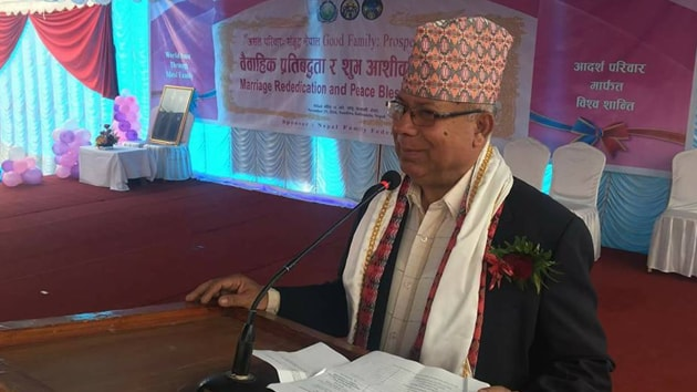 """Nepal Communist Party spokesperson Narayan Kaji Shrestha said, """"A total of 315 Central Committee Members have voted in favour of Madhav Nepal.""""(Facebook/@madhavnepaluml)"""