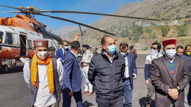 Himachal Pradesh Chief Minister Jai Ram Thakur taking stock of the Atal Tunnel on Manali-Leh road. In an interview to HT, he exuded an air of quiet confidence in his ability to deal with the challenges ahead.(PTI file photo)