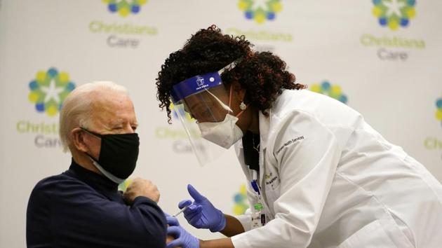 President-elect Joe Biden receives his first dose of the coronavirus vaccine at ChristianaCare Christiana Hospital in Newark, Delaware.(AP)