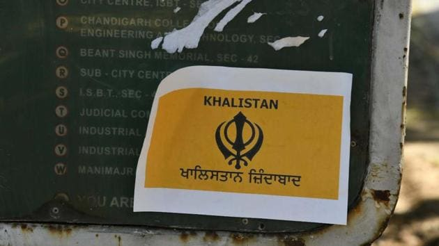 A file photo of a sticker on Khalistan seen pasted on a signboard, in Chandigarh, India, on October 11, 2020.((File photo by Keshav Singh/Hindustan Times))