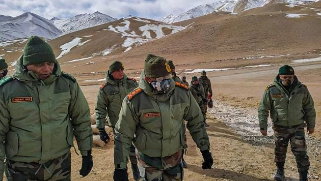 "Army Chief General MM Naravane reached the forward areas early on Wednesday and visited troops of XIV Corps, popularly known as the ""Fire and Fury Corps"" and part of the Udhampur-based Northern Command.(PTI)"
