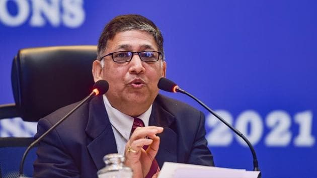 Umesh Sinha, secretary general, Election Commission of India, addresses the press regarding the preparedness for Tamil Nadu Assembly elections 2021, in Chennai on Tuesday.(PTI)