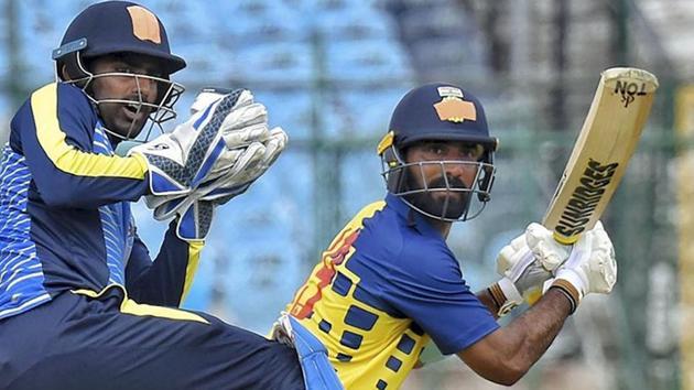 Jaipur: Tamil Nadu captain Dinesh Karthik plays a shot during the Vijay Hazare Trophy cricket match against Services at Sawai Mansingh Stadium in Jaipur, Wednesday, Sept. 25, 2019.(PTI)