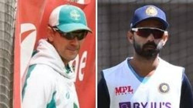 Photo of Australian head coach Justin Langer (L) and India's stand-in skipper Ajinkya Rahane(HT Collage)