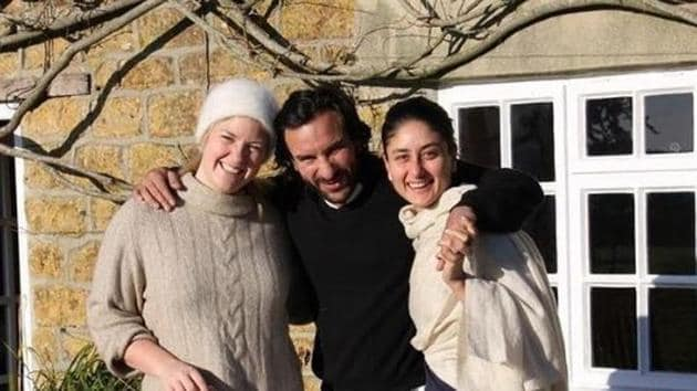 Kareena Kapoor with Saif Ali Khan and their friend Gally.