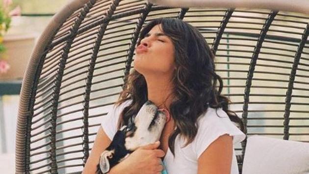 Priyanka Chopra with her pet, Panda.