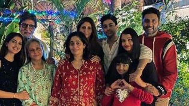 The Bachchan family poses at their Christmas party.