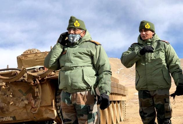 Army chief General MM Naravane visited forward areas of Fire and Fury Corps including Rechin La and undertook a first-hand assessment of the situation along the LAC in Leh, a day earlier on Wednesday.(ANI PHOTO.)