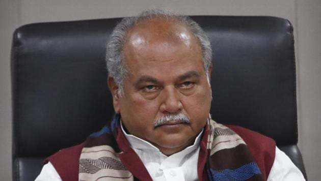 India's agriculture minister Narendra Singh Tomar looks on during a press conference with representatives of foreign media organizations in New Delhi.(AP)